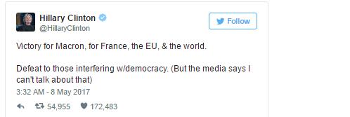 Hillary Clinton đánh giá chiến thắng của Macron là chiến thắng của cả nước Pháp và thế giới