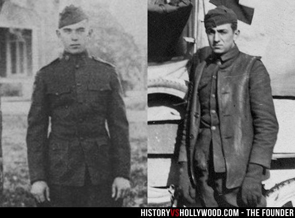 Ray Kroc (trái) trong quân ngũ, tại đây ông gặp Walt Disney (phải)