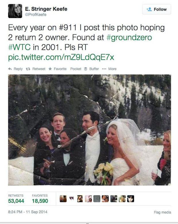 Năm nào vào dịp 11/9, Elizabeth cũng đăng tấm ảnh tìm người (Ảnh: Internet)