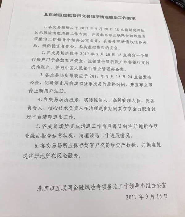 Văn bản gửi tới các sàn giao dịch từ nhà chức trách Trung Quốc.