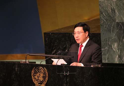 Phó Thủ tướng Phạm Bình Minh phát biểu tại khóa họp 72 Đại hội đồng LHQ. Ảnh: BNG