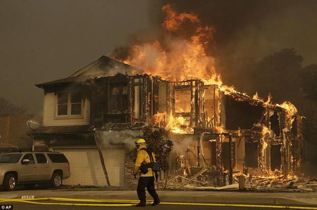Một ngôi nhà ở TP Santa Rosa bị thiêu rụi. Ảnh: AP