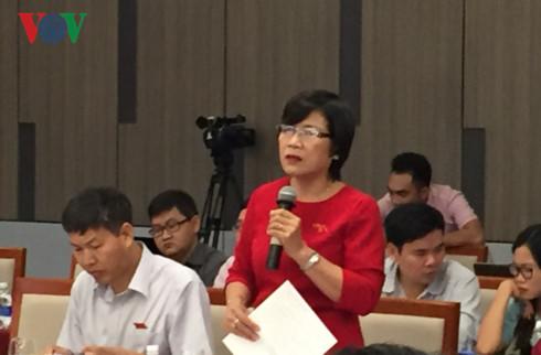 Đại biểu Mai Thị Ánh Tuyết, ủy viên Ủy Ban Kinh tế của Quốc hội phát biểu.