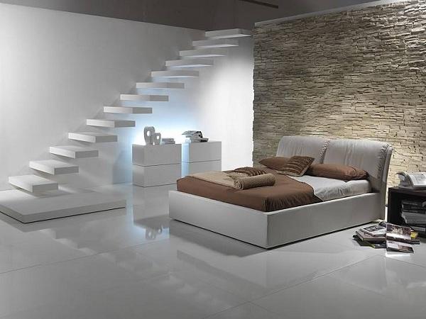 Thiết kế cầu thang đơn giản, thanh mảnh mang lại cảm giác nhẹ nhàng cho không giann nghỉ ngơi.