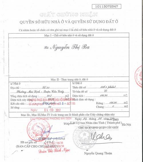 Chứng nhận sử dụng đất của cụ Nguyễn Thị Ba