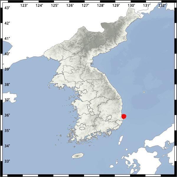 Bản đồ địa chấn Hàn Quốc về vụ động đất chiều nay.