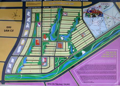 Sơ đồ phân lô nền dự kiến của Công ty CP Địa ốc Alibaba Khu đô thị Tây Bắc Củ Chi.