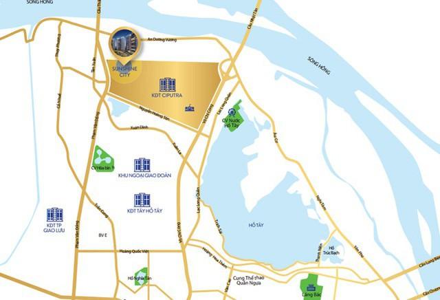 Sunshine City nằm ngay trong Khu thành thị Ciputra nơi được xem là trái tim của BDS Hồ Tây.