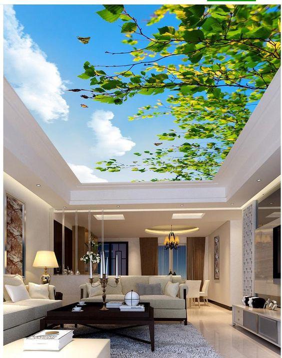 Dán trần nhà cho phòng ngủ, hoặc phòng khách đang trở thành xu hướng được nhiều khách hàng ưa chuộng.