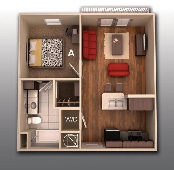 Sàn gỗ kết hợp với nội thất màu đỏ giúp căn hộ vừa sang trọng mà vô cùng ấm áp.