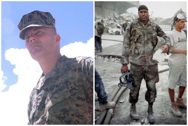 Hai sĩ quan Thủy quân lục chiến giải ngũ đang tìm kiếm những người còn mắc kẹt dưới đống đổ nát của hai toà tháp.