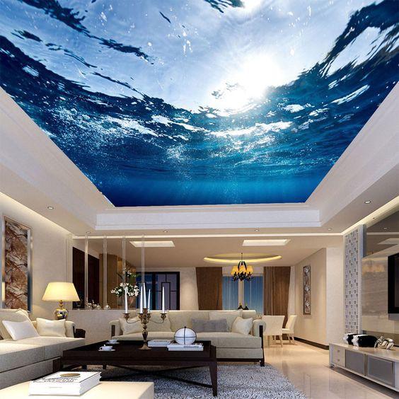 Tuy rất đẹp nhưng loại trần 3D này yêu cầu phải được thi công trên mặt phẳng mịn, không bị thấm nước.