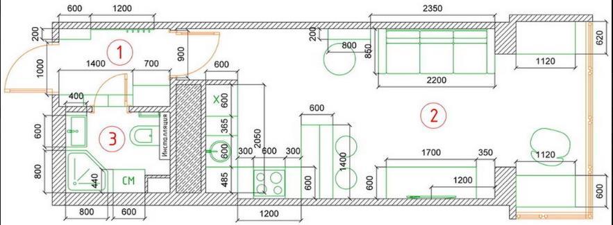 Sơ đồ thiết kế không gian căn hộ nhỏ.