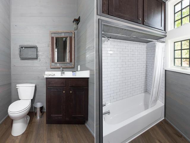 Nhà vệ sinh thiết kế đơn giản nhưng đẹp và sạch bóng.