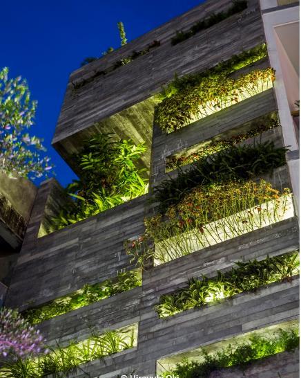 Mặt tiền của ngôi nhà ông này cũng được thiết kế khá đặc biệt với lớp bê tông có lỗ thoáng và những ô trồng cây xanh nằm giúp làm giảm bụi và tiếng ồn từ đường phố. Ngoài ra, nó còn giúp thanh lọc không khí tự nhiên liên tục vào nhà.
