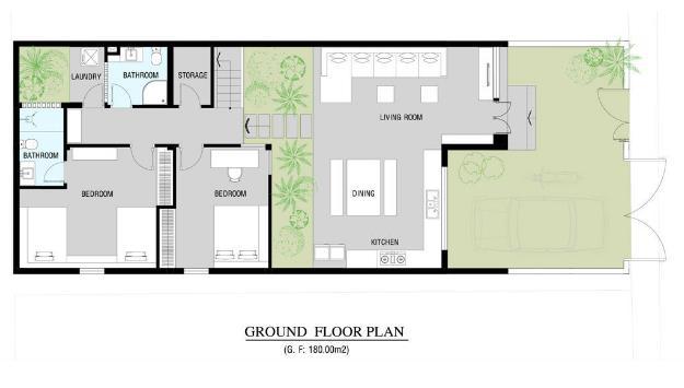 Sơ đồ bố trí không gian cả hai khối nhà sàn tầng 1.