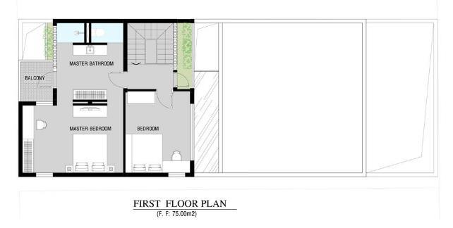 Sơ đồ bố trí không gian sàn tầng 2.
