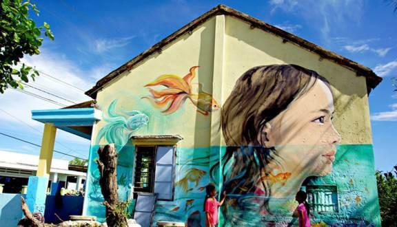 Những bức vẽ tuyệt đẹp ở làng Bích họa Tam Thanh, Quảng Nam.