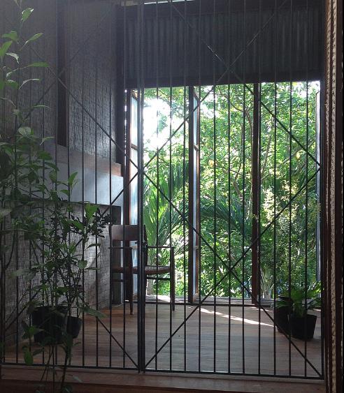 Sau ngôi nhà là cả một khu vườn xanh mát.