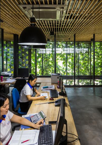 Đây là không gian làm việc của ban giám đốc, quản lý và nhân viên khối văn phòng.