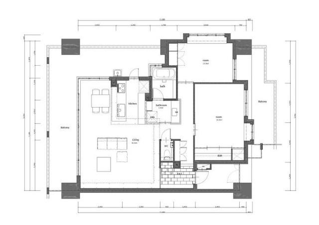 Sơ đồ bố trí toàn bộ khu vực chức năng trong căn hộ.