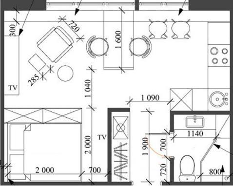 Sơ đồ bố trí toàn bộ không gian chức năng của căn hộ.