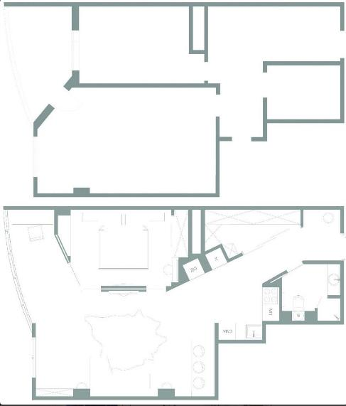 Sơ đồ bố trí các khu vực chức năng trong căn hộ.