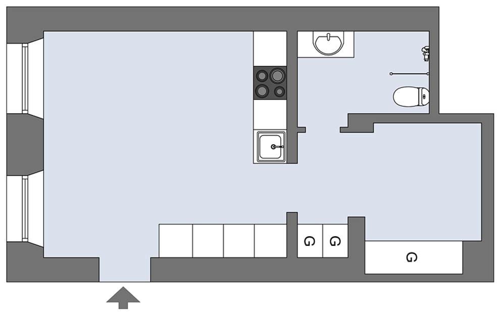 Sơ đồ bố trí toàn bộ không gian căn hộ.