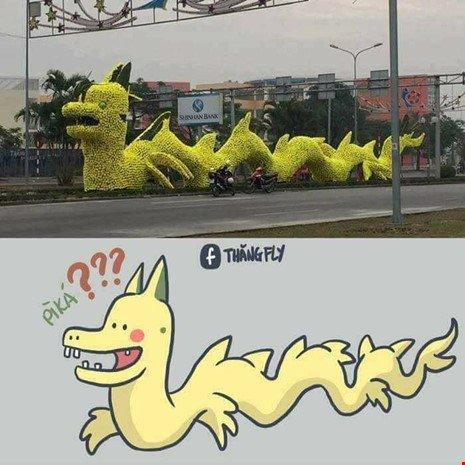 Dân mạng chế giễu con rồng trang trí trên đường phố Hải Phòng