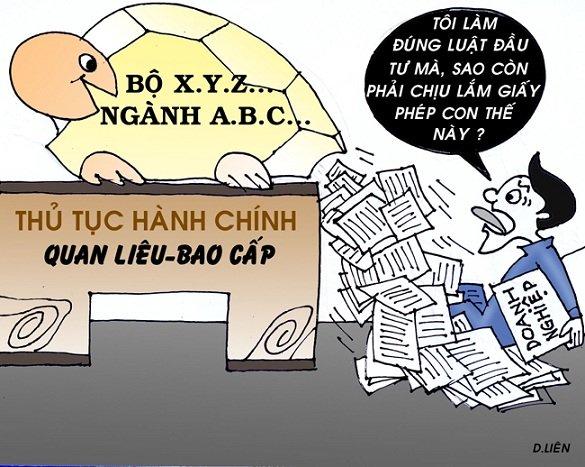 Biếm họa về giấy phép con trên Báo Nhân dân