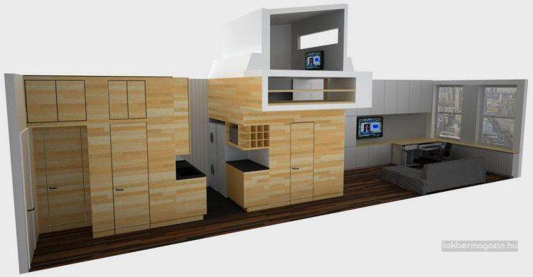 Tuy nhiên với hệ kệ gỗ thông minh được bố trí dọc lối vào nhà đã giải quyết hoàn toàn mọi vấn đề trong căn hộ.