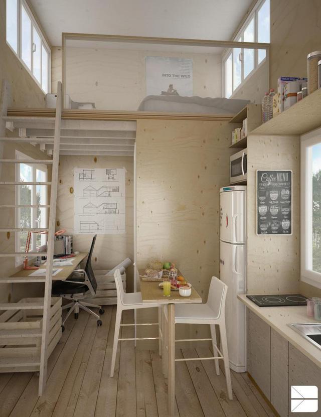 Với lợi thế trần nhà cao, toàn bộ không gian nghỉ ngơi riêng tư được đưa lên trên nhường lại khoảng bên dưới thoáng rộng để bố trí bếp, phòng khách, bàn ăn, bàn làm việc và khu vực vệ sinh.