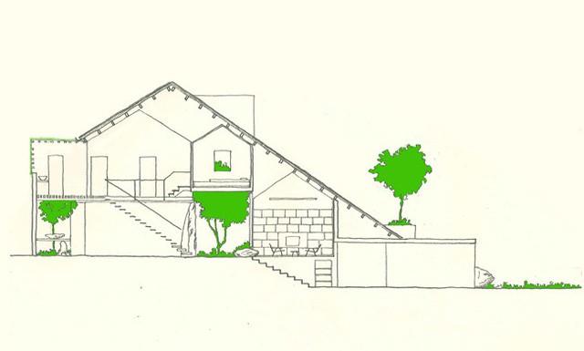 Mặt đứng ngôi nhà.