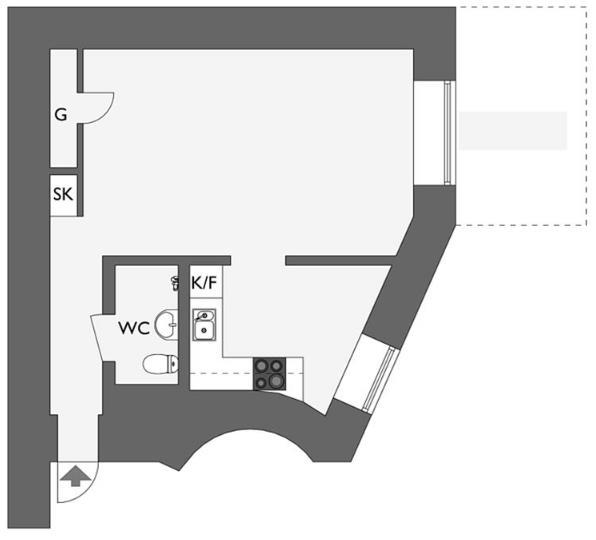Sơ đồ bố trí không gian căn hộ nhỏ.