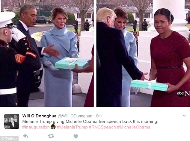 Ánh mắt của Michelle Obama đã lọt vào ống kính và trở thành để tài bàn tán của mọi người. (Ảnh: Twitter)