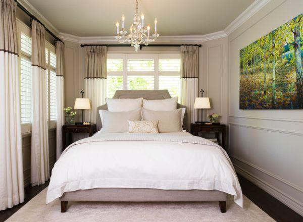 Sử dụng nội thất màu trắng có tác dụng làm tăng thêm ánh sáng cho gian phòng, giúp phòng ngủ nhỏ trở nên rộng lớn hơn qua thị giác và dễ bố trí nội thất.