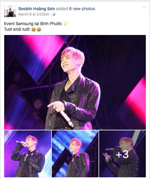 Trên trang Facebook chính thức, Soobin Hoàng Sơn công khai đăng ảnh tại đêm nhạc hội này, cho thấy anh đã thực sự trở thành người Samsung