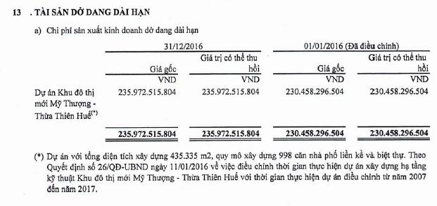 Tài sản dở dang dài hạn (Nguồn: BCTC Kiểm toán VNE năm 2016)