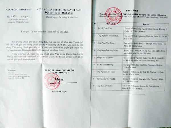 Văn phòng Chính phủ ngày 14/3/2017 đã có văn bản chuyển đơn của công dân Huỳnh Văn Cò đến Chủ tịch UBND TP HCM để xem xét, giải quyết theo thẩm quyền. Ảnh: Giáng Thăng