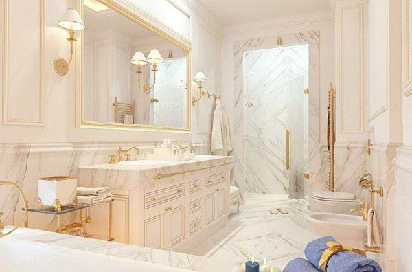 Nột thất các phòng tắm đều được lát đá cẩm thạch.