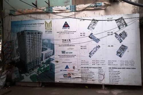 Bảng giới thiệu dự án đầu tư xây dựng tòa nhà chung cư Mỹ Sơn có địa chỉ tại số 62 Nguyễn Huy Tưởng, phường Thanh Xuân Trung, quận Thanh Xuân, Hà Nội.