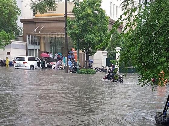 Nhiều phương tiện phải dừng lại trú mưa trên phố Trần Hưng Đạo. (Ảnh: Nguyễn Mai)