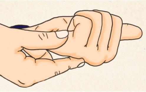 Cách giữ và bấm huyệt Hậu khê (Ảnh minh họa)