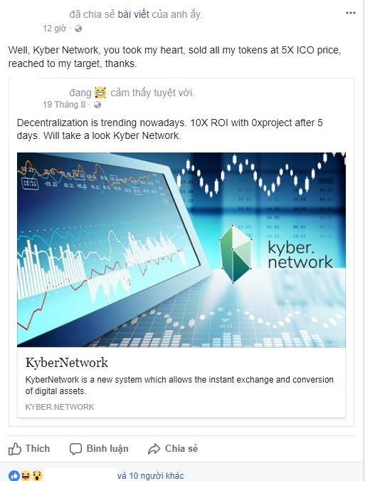 Nhà đầu tư Việt Nam đầu tư viết trên trang cá nhân: Kyber Network, dự án chiếm lấy trái tim của tôi, bán với giá gấp 5 lần giá ICO, đạt được mục tiêu tôi đề ra. Xin cảm ơn