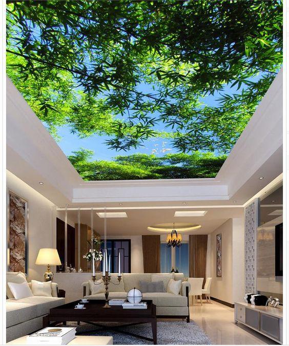 Sử dụng trần nhà 3D giúp các thành viên trong gia đình được đắm mình trong bầu không gian gần gũi với thiên nhiên, cảm giác thư giãn và thoải mái khi bước vào phòng.