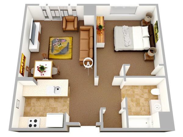 Các khu vực chức năng được phân chia rõ ràng nhưng căn hộ không hề có cảm giác bí bách.