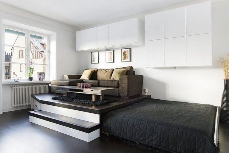 Bạn chỉ cần nâng cấp sàn với diện tích vừa phải, thiết kế giường ẩn phía dưới sàn như một chiếc ngăn kéo khổng lồ ngay trong phòng là bạn đã có một chiếc giường như ý.