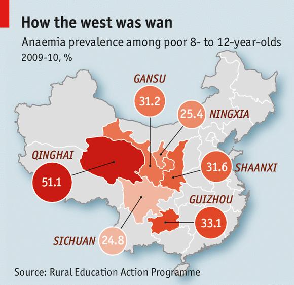 Tỷ lệ mắc bệnh thiếu máu tại trẻ 8-12 tuổi ở một số tỉnh nghèo của Trung Quốc