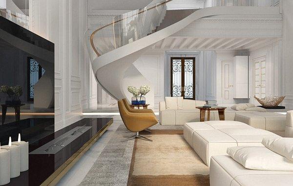 Khu phòng khách với nội thất màu trắng.