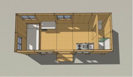 Minh hoạ đơn giản của một căn nhà đáp ứng các yêu cầu về diện tích tối thiểu của IRC 2012.